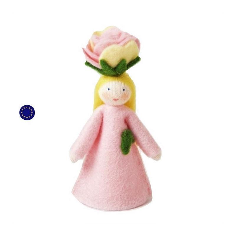 Poupée fée fleur, rose, pour table de saison waldorf ambrosius