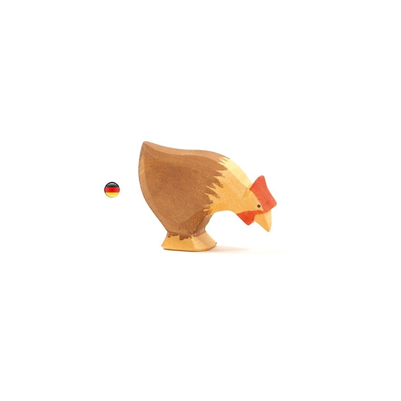 Figurine poule picorant, animal, jouet en bois steiner waldorf de Ostheimer