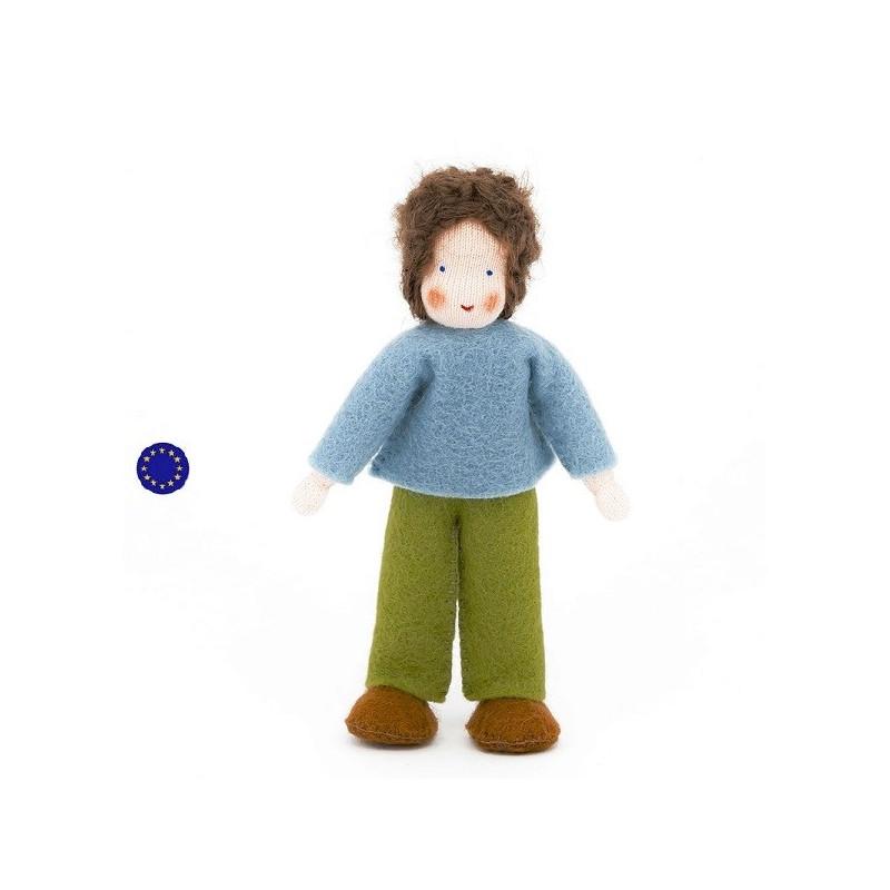famille mini poupee waldorf tissu, garçon brun,maison de poupee ambrosius