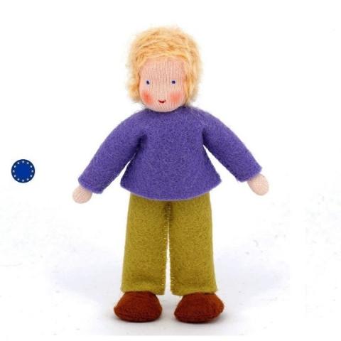 famille mini poupee waldorf tissu, garçon blond,maison de poupee ambrosius