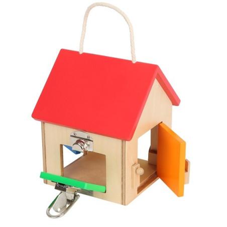 Maison à serrures compacte en bois, jeu de motricite de legler