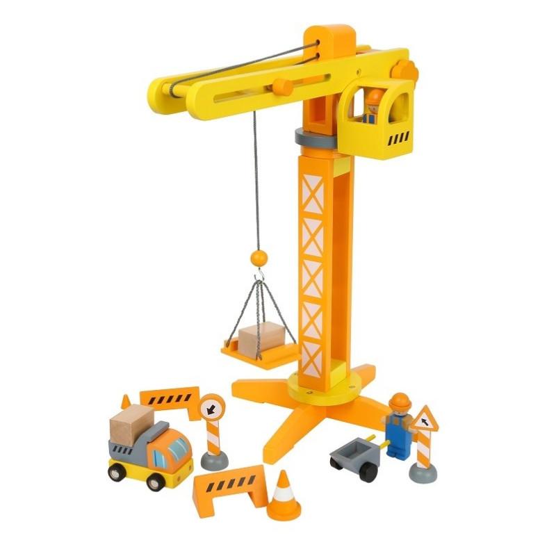 Grue de chantier, camions, engins  et accessoires jouet en bois de legler