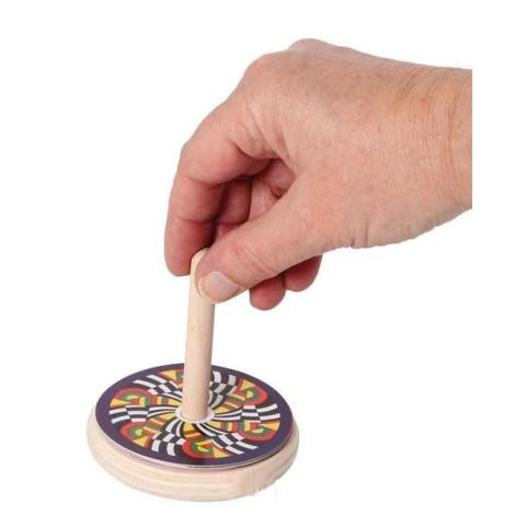 toupie en bois à motifs interchangeables, illusion optique