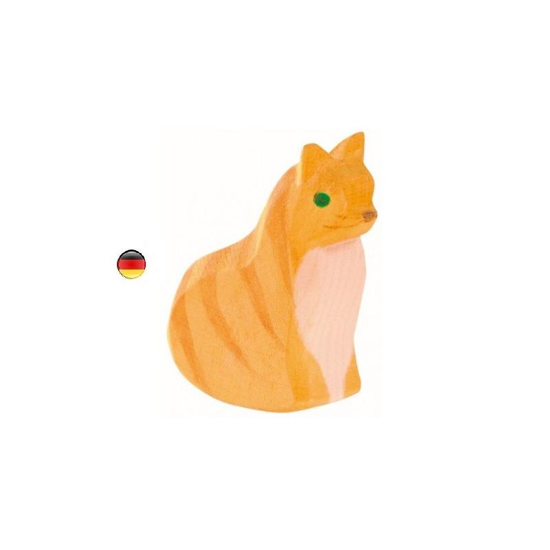 Figurine chat assis, jouet en bois type steiner waldorf de ostheimer
