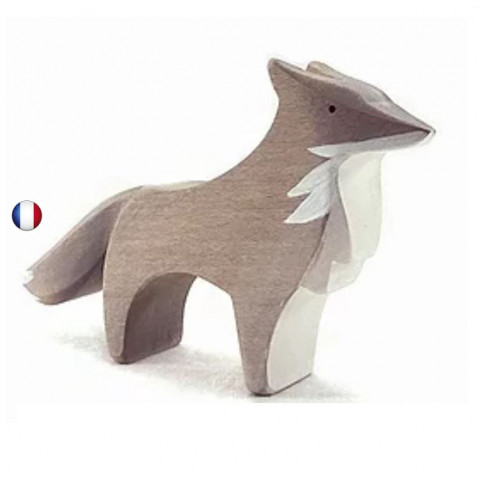 Figurine loup, animal en bois steiner waldorf de brin d'ours