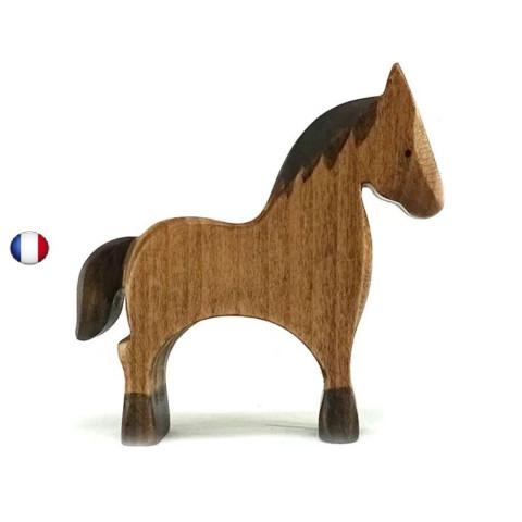 Figurine cheval jouet en bois steiner waldorf de brin d'ours