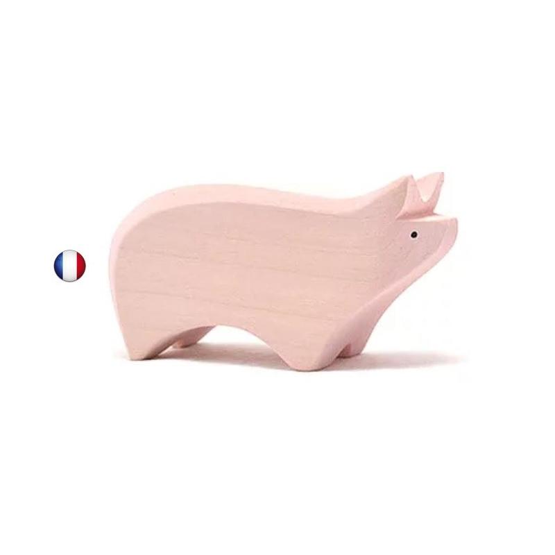Figurine cochon , jouet en bois steiner waldorf de brin d'ours