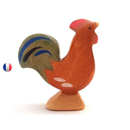 Figurine coq roux en bois