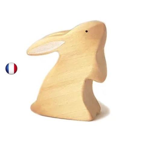 Figurine lapin nature debout jouet en bois steiner waldorf de brin d'ours