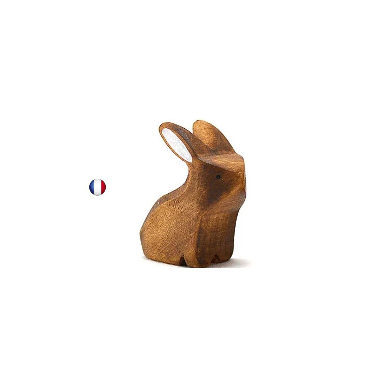 Figurine lapin brun assis jouet en bois steiner waldorf de brin d'ours