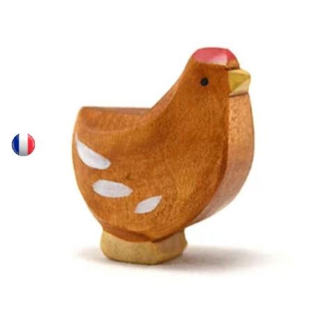 Figurine poule rousse debout, jouet en bois steiner waldorf de brin d'ours