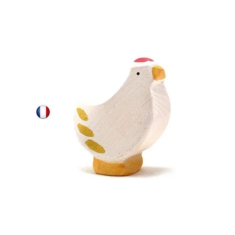 Figurine poule blanche debout, jouet en bois steiner waldorf de brin d'ours