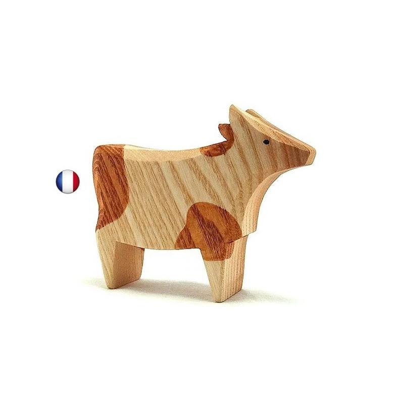 Figurine vache rousse, jouet en bois steiner waldorf de brin d'ours