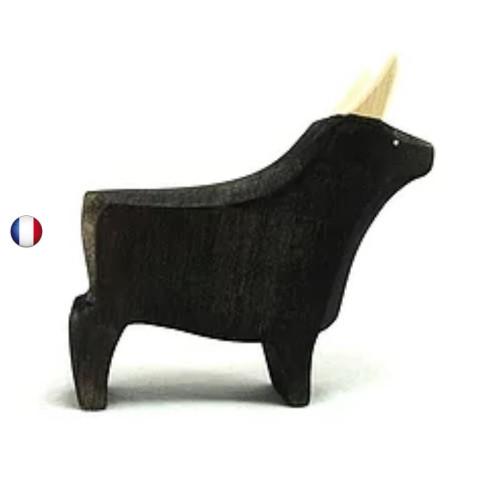 Figurine taureau noir, jouet en bois steiner waldorf de brin d'ours