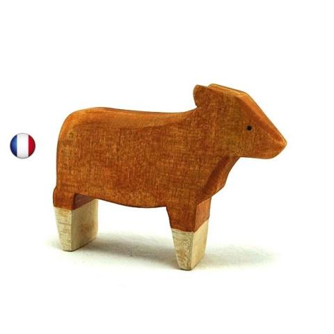 Figurine veau roux, jouet en bois steiner waldorf brin d'ours
