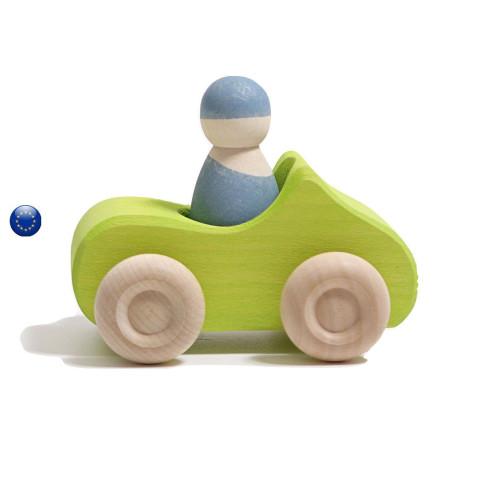 Voiture verte avec figurine conducteur amovible, jouet en bois ecologique steiner Grimm's