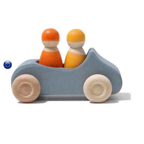 Voiture bleue et 2 passagers Grimm's