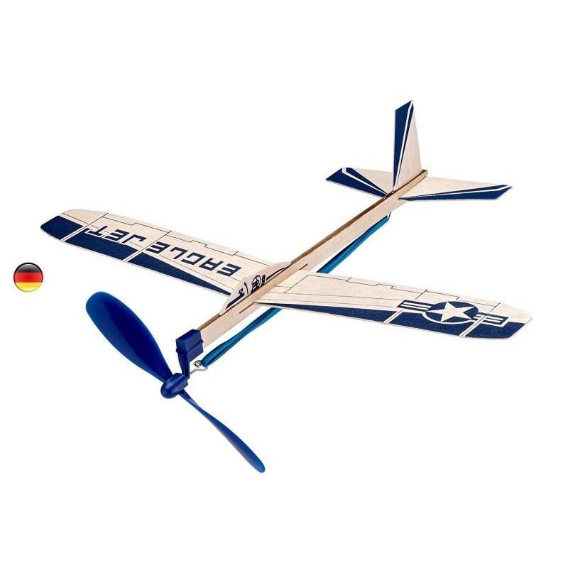 Avion planeur à moteur élastique en balsa, jouet en bois goki bartl allemagne