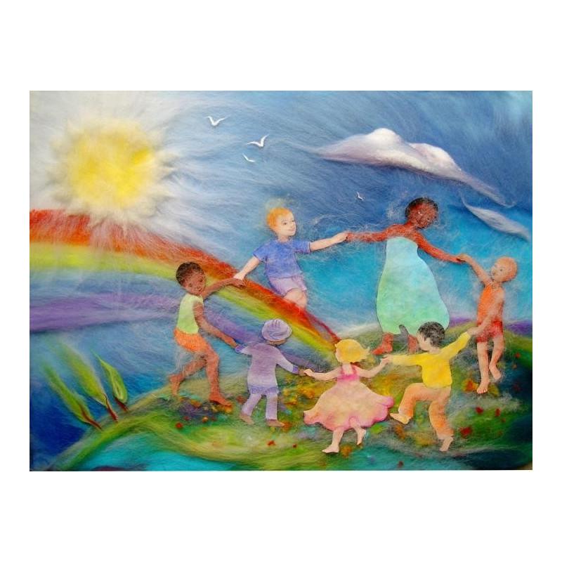 Carte postale ronde des enfants de la terre, carte tableau laine feutrée de célia Portail, Rêves en laine