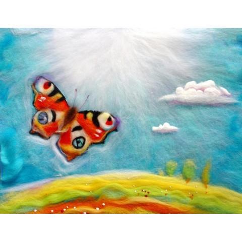 Carte Papillon,  tableau de laine