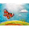 Carte Papillon,  tableau de laine feutree celia portail reves en laine