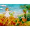 Carte postale elfes des champs, tableau laine feutrée de célia Portail, Rêves en laine