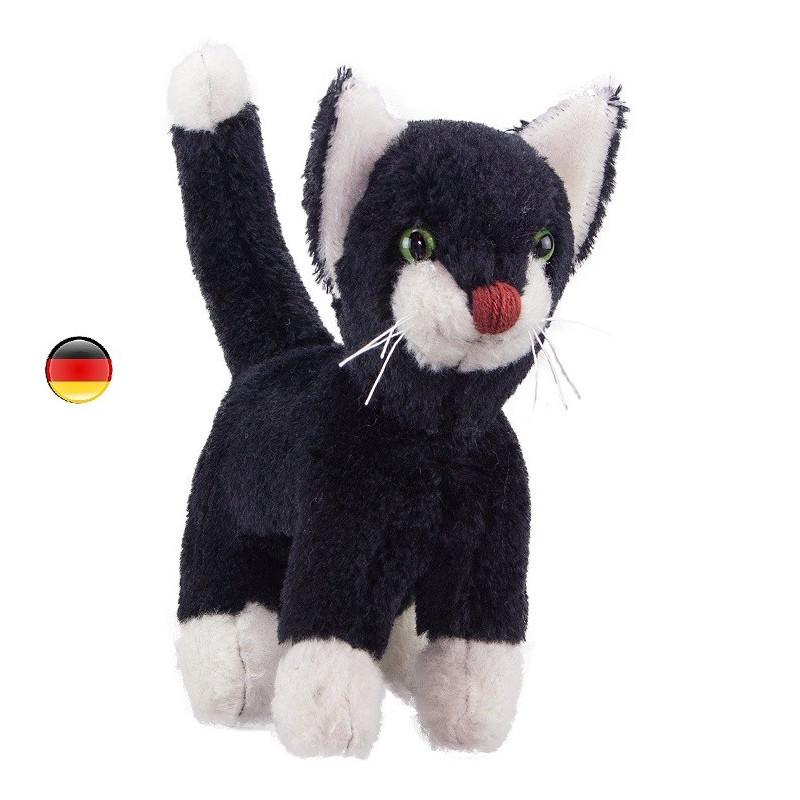 Peluche chat noir en coton bio, jouet ecologique et éthique de Kallisto