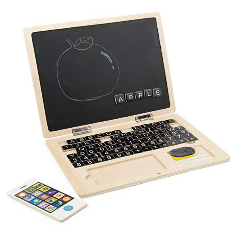 Ordinateur et telephone portable en bois, tableau magnétique jouet d'imitation ecologique legler