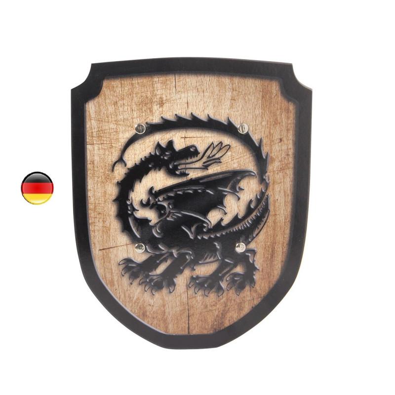 Bouclier dragon en bois, jouet ecologique holzspielerei bartl