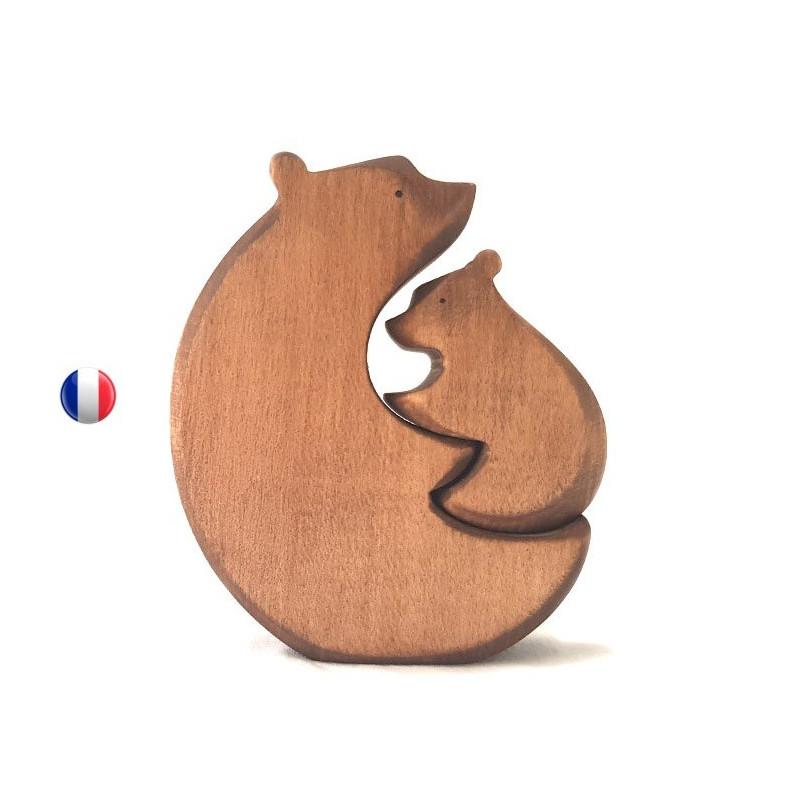Encastrement calin d'ours, jouet en bois ecologique et ethique artisan d'alsace brindours