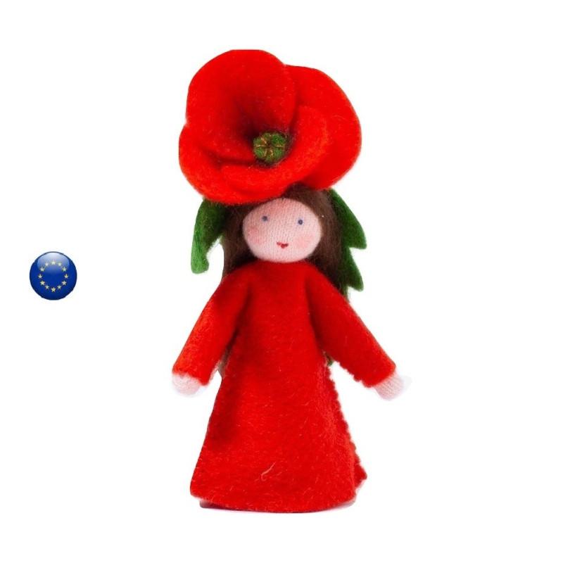 Poupée fée fleur, coquelicot poppy , pour table de saison waldorf ambrosius