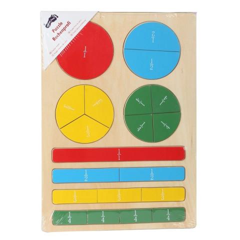 Puzzle des fractions et calcul, jeu d'apprentissage en bois de Legler