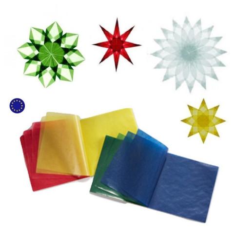 Bloc de 100 feuilles de Papier cristal vitrail pour étoiles de fenêtre et décorations de Noël