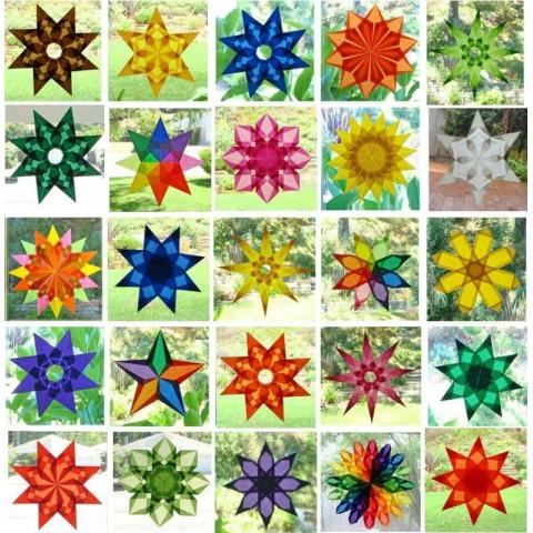 Bloc de 100 feuilles de Papier vitrail pour étoiles de fenetre, cerf volant