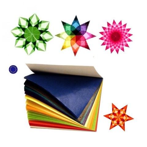 Bloc de 100 grandes feuilles de Papier cristal vitrail 22cmx22 pour étoiles de fenêtre et décorations de Noël