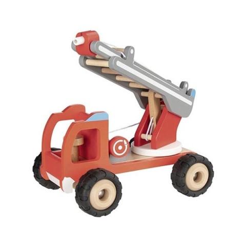 Grand camion de pompier avec echelle et lance d'incendie, jouet en bois naturel ecologique steiner waldorf de Goki