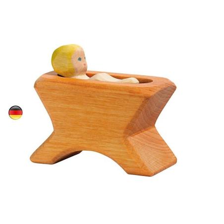 Berceau et bébé santon de noël, figurine en bois