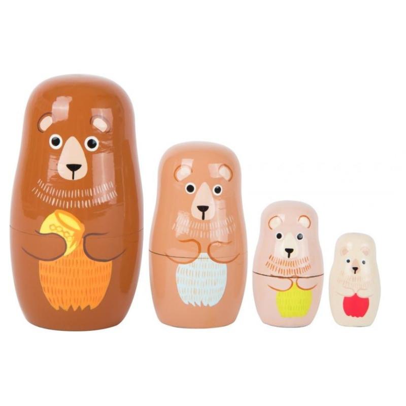 famille ours gigogne, poupée russe matrioschka, jouet en bois de legler