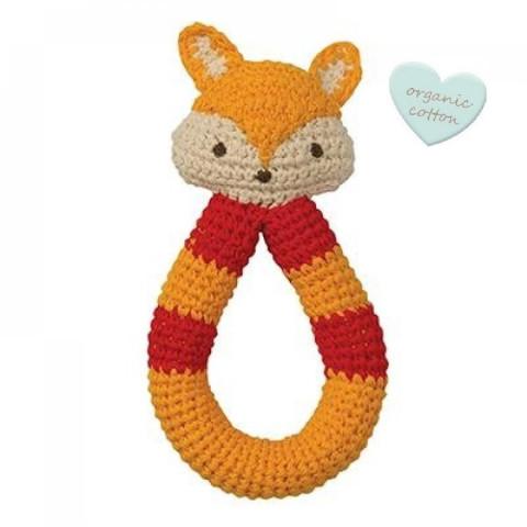 Hochet renard en crochet, coton bio commerce equitable, jouet ecologique et ethique de Hoppa