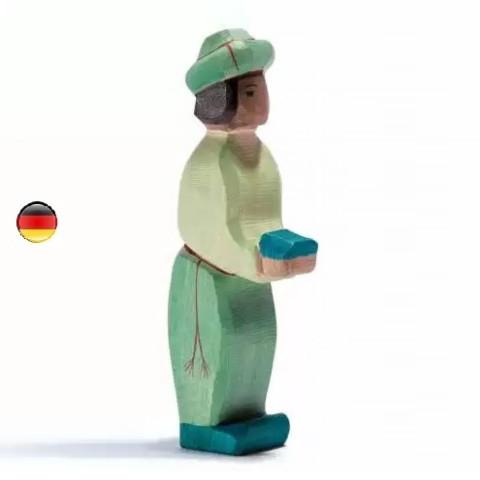 Roi mage vert, figurine santon de Noël pour la crèche,  jouet en bois steiner waldorf de Ostheimer