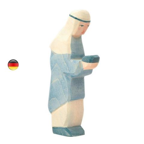 Roi mage bleu de noël, figurine en bois