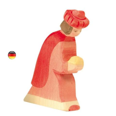 Roi mage rouge de noël, figurine en bois