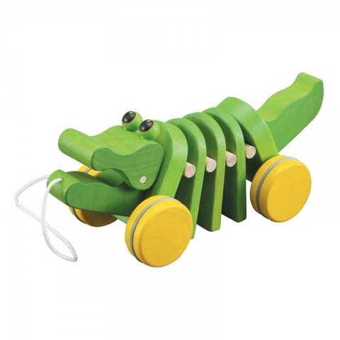 Alligator à tirer, crocodile jouet en bois Plan toys