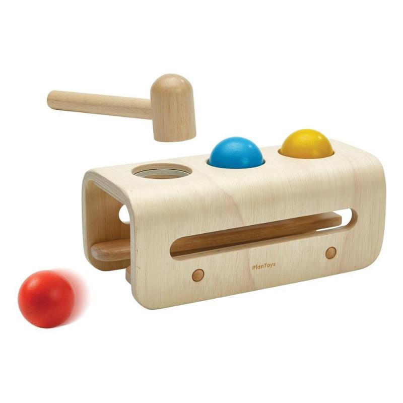 banc à balles à marteler, jouet du marteau à taper en bois, jouet montessori steiner de plan toys