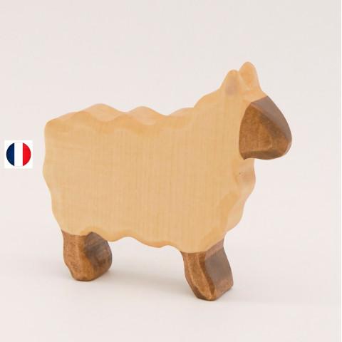 mouton blanc debour, figurine en bois, jouet ecologique et ethique france de atelier des petits bouts de bois