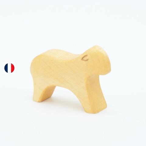 agneau naturel, figurine en bois, jouet écologique et éthique France de atelier des petits bouts de bois
