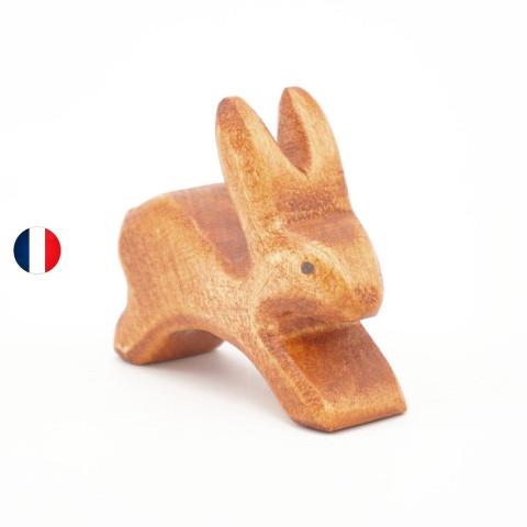 lapin courant figurine en bois, jouet écologique et éthique France de atelier des petits bouts de bois
