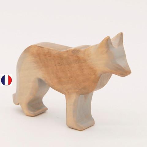 loup figurine en bois, jouet écologique et éthique France de atelier des petits bouts de bois