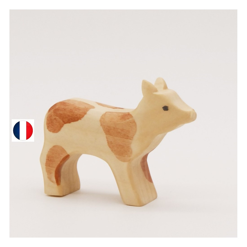 veau figurine en bois, jouet écologique et éthique France de atelier des petits bouts de bois