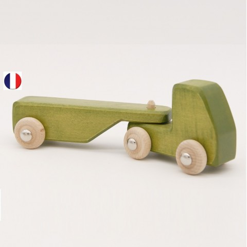 camion remorque vart en bois, jouet écologique et éthique France de atelier des petits bouts de bois